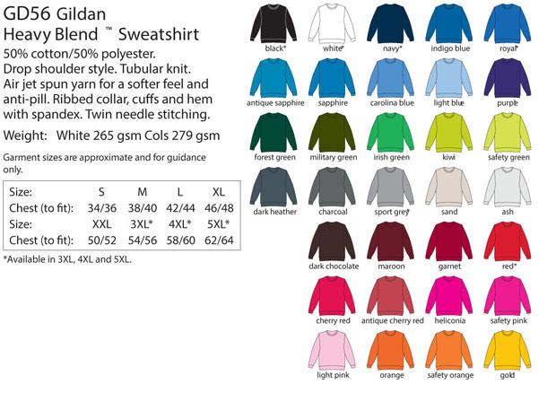 Heavy Blend  Sweatshirt Colours