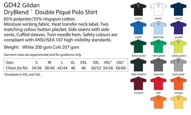 Polo Tshirt Colour List